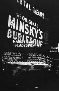 L'insegna di uno dei teatri dei fratelli Minsky