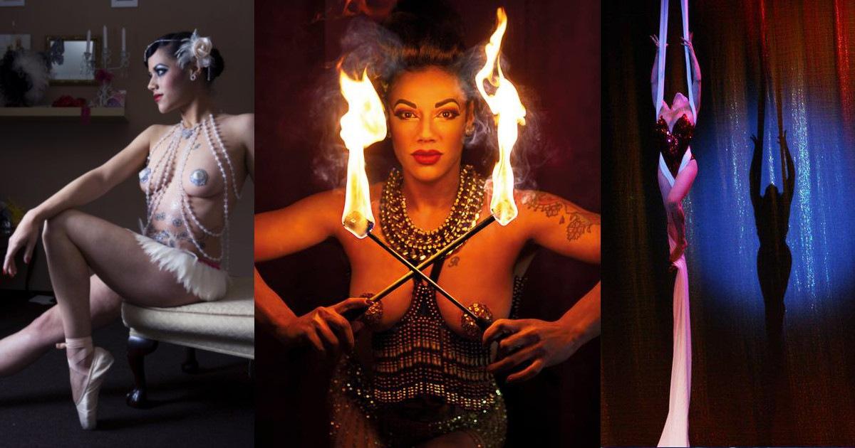 Natsumi Scarlett, burlesque performer, ballerina, fire artist, aerial artist