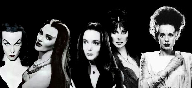 Vampira, Lily Munster, Morticia Addams, Elvira, The Bride of Frankenstein