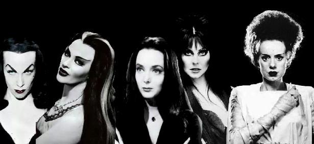 Vampira, Lily Munster, Morticia Addams, Elvira, The Bride of Frankenstein