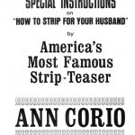 "Il booklet di ""How To Strip For Your Husband"" firmato da Ann Corio. Pagina 1."