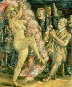 Reginald Marsh, Burlesque stripper at the saloon, 1936