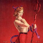 La burlesque performer e modella Judy O'Day nel paginone centrale della rivista Satan, un clone di Playboy (febbraio 1957)