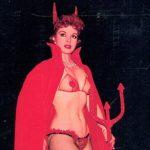 Marcia Edgington, burlesquer e modella, sulla copertina di Sizzle, rivista per soli uomini (1959)