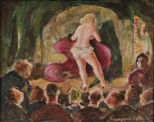 "Clyde J. Singer, ""Burlesque dancer"", 1933 c., olio su cartoncino (22,54x27,31), Akron art Museum, Ohio"