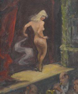 "Clyde J. Singer, ""Stripper"", caseina su tavola di ghiaia (40,64 x 38,1), 1969, collezione privata"