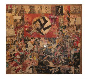 """""""Amerique/ Lumumba Dead"""" - """"Lumumba...is...dead"""". Boris Lurie, 1960. Collage: Olio e carta su tela."""