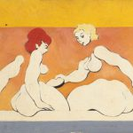 """Dismembered Women: Giving Bread"". Boris Lurie, 1949. Olio su cartoncino."