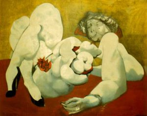 """""""Dismembered Woman: Pin-up with Flower"""". Boris Lurie, 1959."""