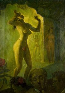 """Jack Levitz, """"Burlesque Dancer"""", olio su tela (cm 26x36), 1930, collezione privata."""