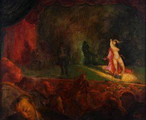 "Jack Levitz, ""Burlesque stage show"", olio su tela, (cm 78,1x58,4), 1930, collezione privata."