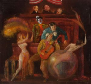 "Jack Levitz, ""Burlesque Dancer and Clown Before Three Judges"", olio su tela (cm 24x30), 1940 circa."