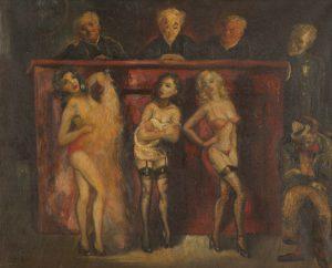 """Jack Levitz, """"Burlesque court trial"""", olio su tela (cm 24x30)"""