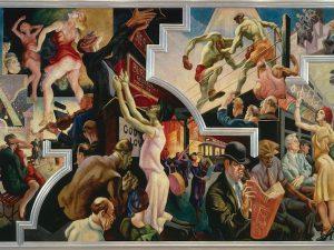 """Dipinto di Thomas Hart Benton """"City Activities With Subway"""""""