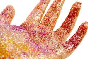 glittered hand