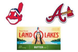 Da sinistra, in senso orario: quello che fine al 2018 è stato il logo della squadra di baseball dei Cleveland Indians; lo stemma degli Atlanta Braves; la grafica del burro Land O'Lakes