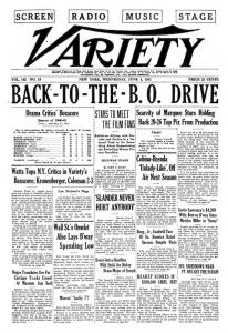 La prima pagina di Variety, 4 giugno 1941