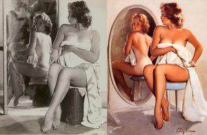 Gil Elvgren: pin-up allo specchio, con la modella originale
