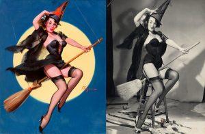 La strega di Gil Elvgren e la sua modella: Myrna Hansen