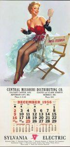 Il calendario 1956 della Sylvania Electric illustrato da Gil Elvgren