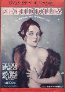 """Il manifesto di Alberto Vargas per le """"Ziegfled Follies"""", riprodotto sulla copertina di uno spartito"""