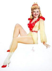 L'attrice Betty Grable ritratta da Alberto Vargas