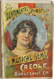 Copertina di una raccolta di spartiti della Creole Burlesque Company