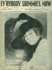 """Mae West sulla copertina dello spartito di """"Everybody Shimmies Now"""""""