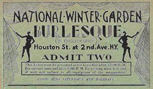 Biglietto per gli spettacoli burlesque dei Minsky al Nation Winter Garden di New York (anni '20)