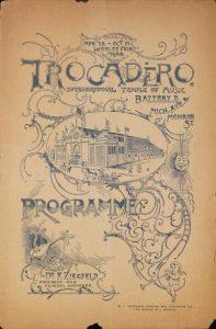 Programma di sala del Trocadero Theater di Chicago, 1893